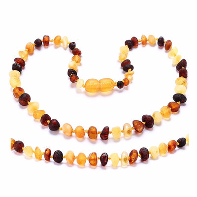 "Authentic Lab Certified Baltic Amber ""Teething-No-More"" Baby Necklace Multicolor/Raw"
