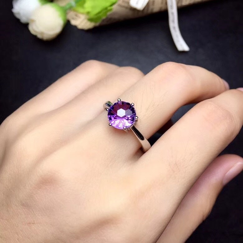 Amethyst 925 Sterling Silver Ring - Saturn