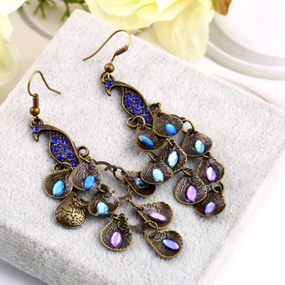 Low Hanging Bejeweled Peacock Earrings - Free + Shipping