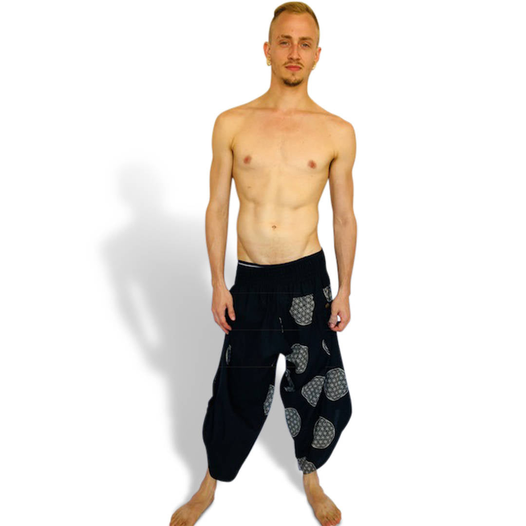 Flower Of Life - Premium Quality Handmade Men's Harem Pants - Natural Cotton