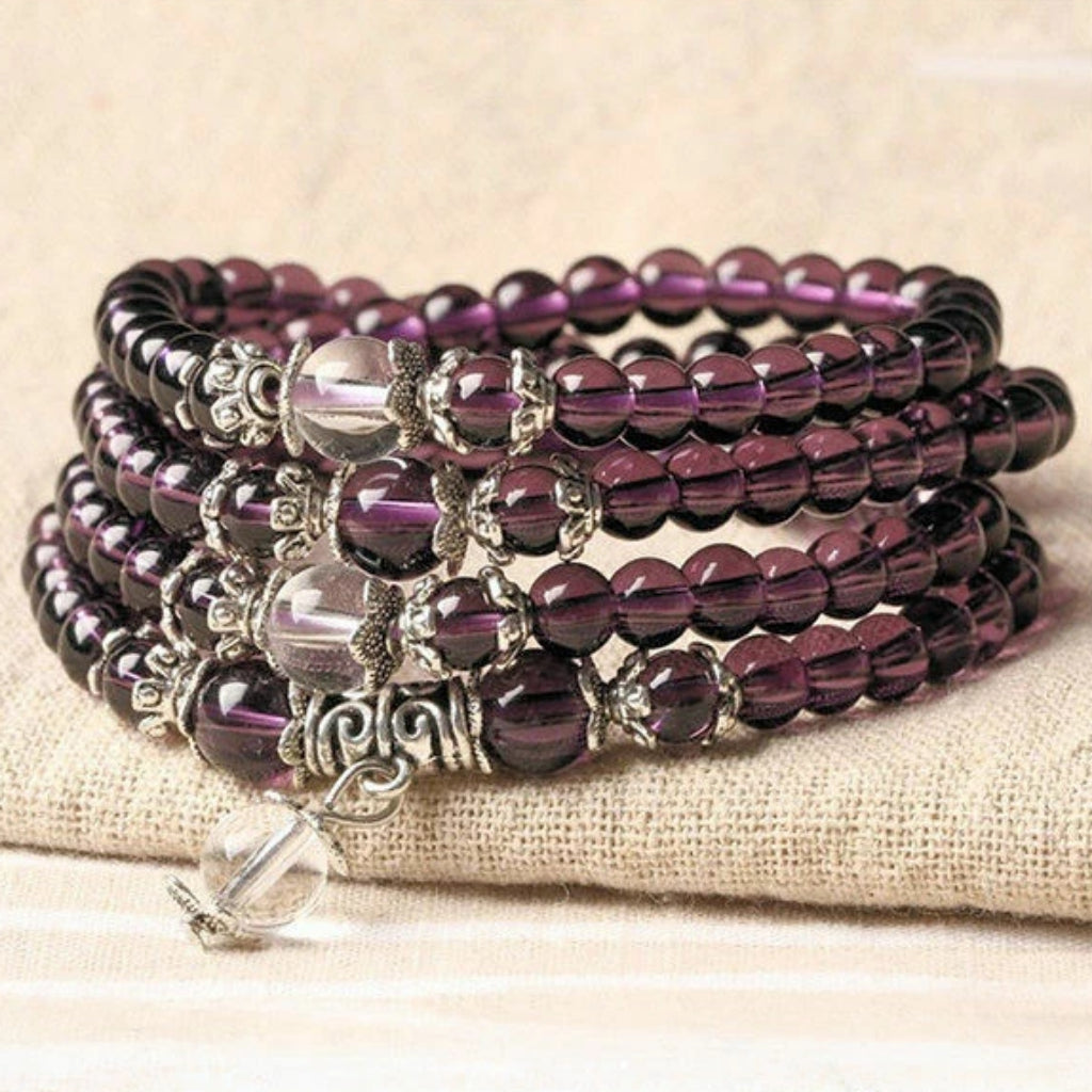Beautiful Amethyst Meditation Mala