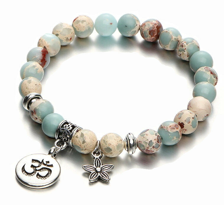 Anti-Anxiety Blue Jasper Bracelet ~ OM / Flower