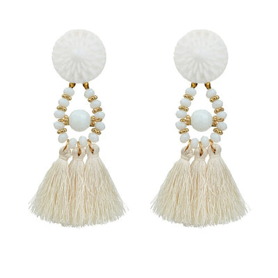 Spiritual Mala Tassel Drop Earrings