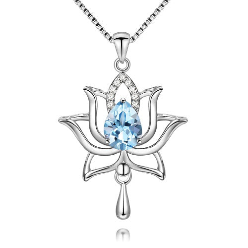 Blue Topaz 925 Sterling Silver Lotus Necklace