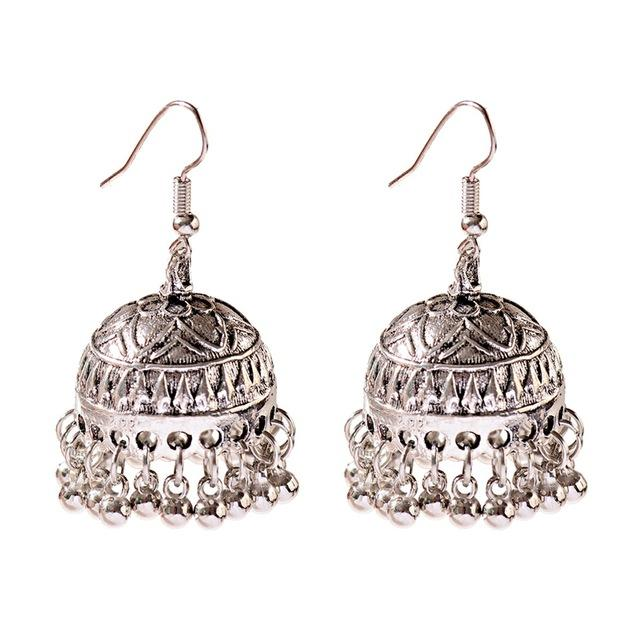 Classic Indian Bell Dangle Earring - Silver