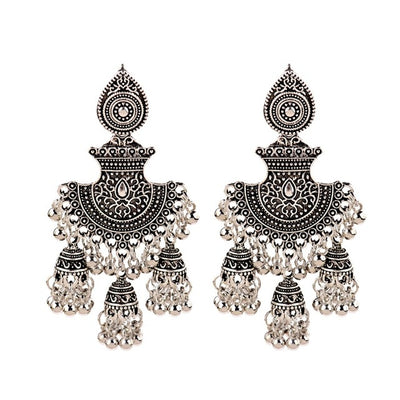 Traditional Indian 3 Bell Style Dangle Earrings