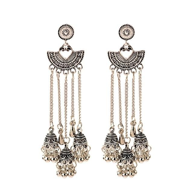 Low Drop Indian Bell Dangle Earring - Silver