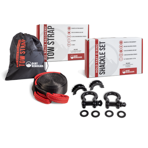 Complete Recovery Kit - 30ft Tow Strap & Shackle Kit
