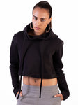 BLACK TECHNICAL CROPPED HOODIE