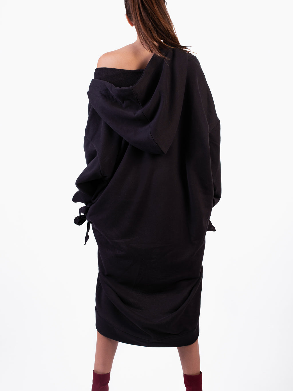BLACK DRAMATIC HOODIE DRESS