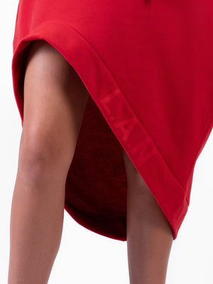 RED DRAMATIC HOODIE DRESS