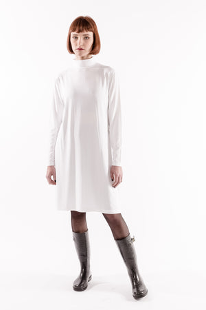 WHITE TURTLE NECK TEE-SHIRT DRESS