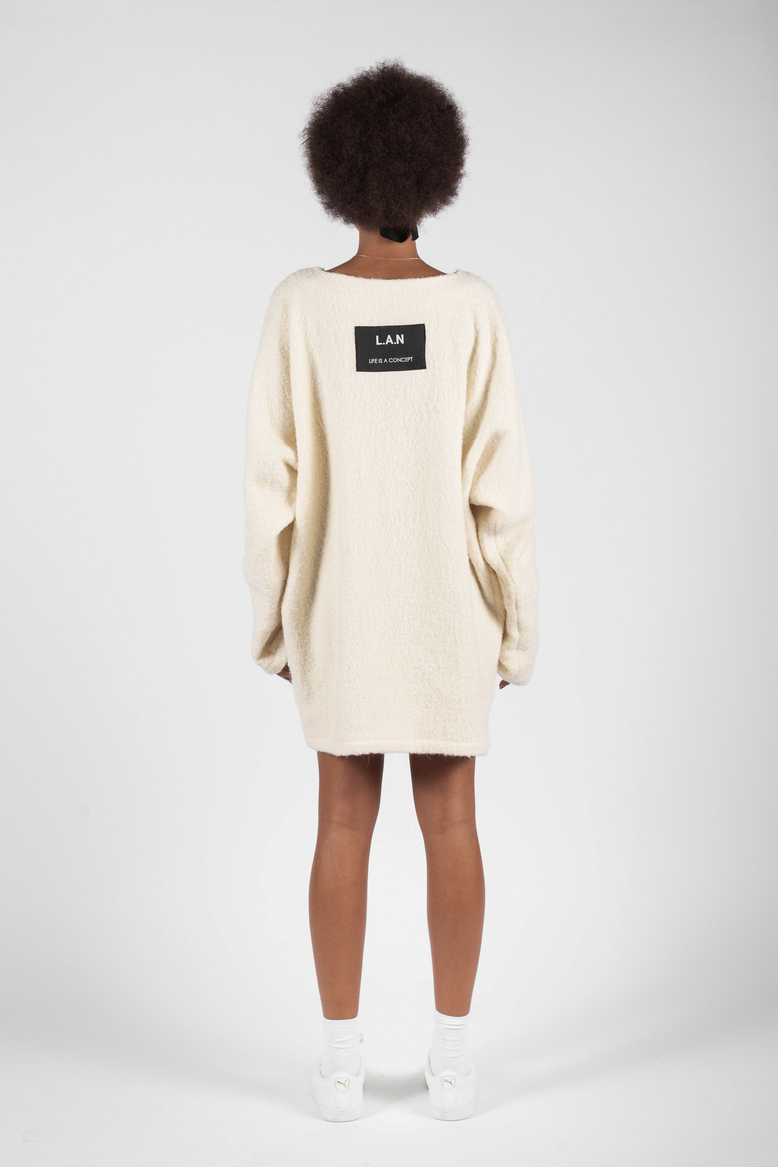 OVERSIZED RAW FLEECE DRESS