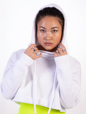 WHITE TECHNICAL CROPPED HOODIE