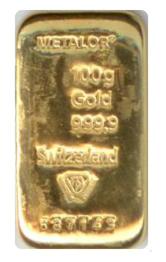 Gold Bullion Bars / METALOR cast 100g (gram) Certified Bar