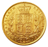1871-S Queen Victoria Shield Reverse Sovereign - AU Example with Lustre