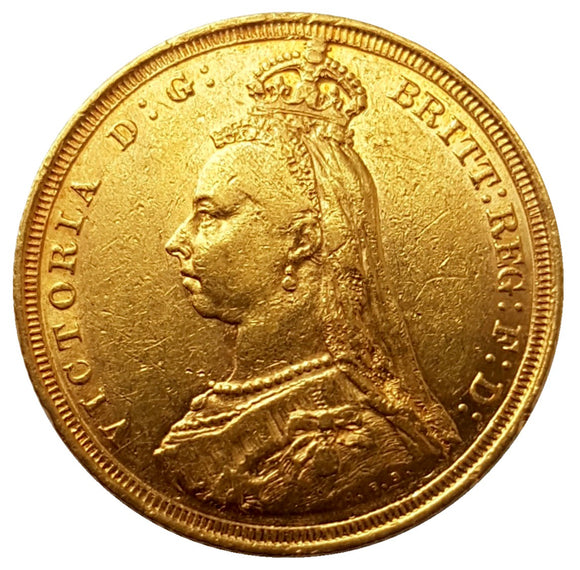 1887-S Queen Victoria Jubilee Head Gold Sovereign (Rare Hooked 'J' in J.E.B)- DISH.S2