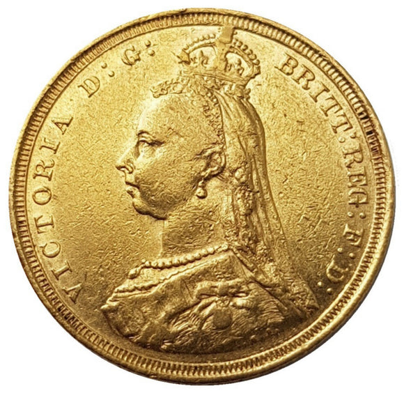 1887-S Queen Victoria Jubilee Head Gold Sovereign - DISH.S3
