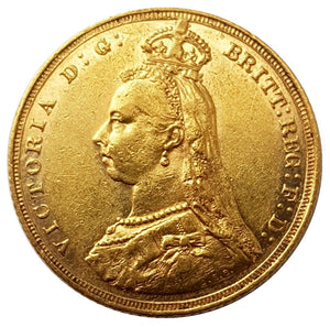 1889-M Queen Victoria Jubilee Head Gold Sovereign (RARE 1st Legend)