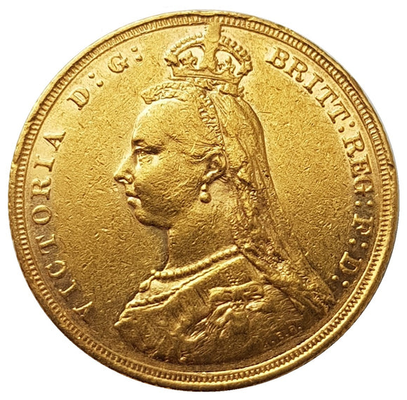 1889-M Queen Victoria Jubilee Head Gold Sovereign (RARE 1st Legend) - DISH M11