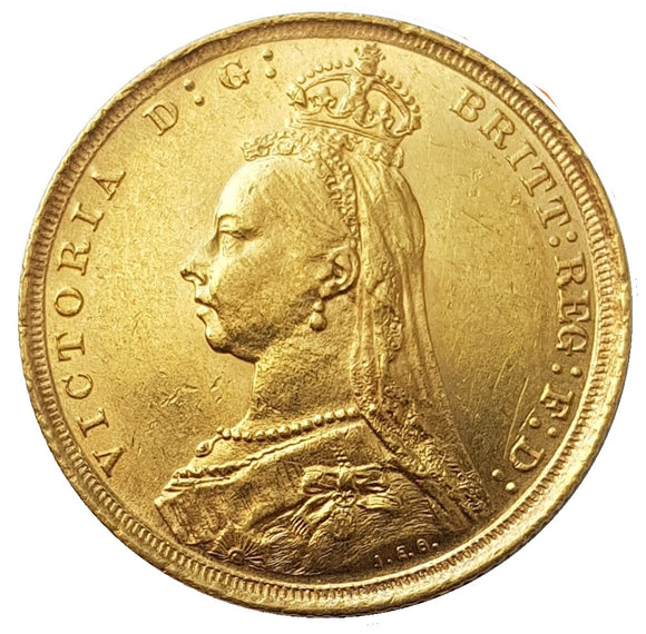 1889-S Queen Victoria Jubilee Head Gold Sovereign (Sydney) - DISH S12