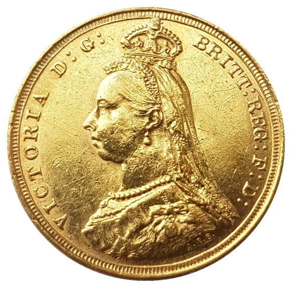 1890-S Queen Victoria Jubilee Head Gold Sovereign (DISH S13) 1st Legend