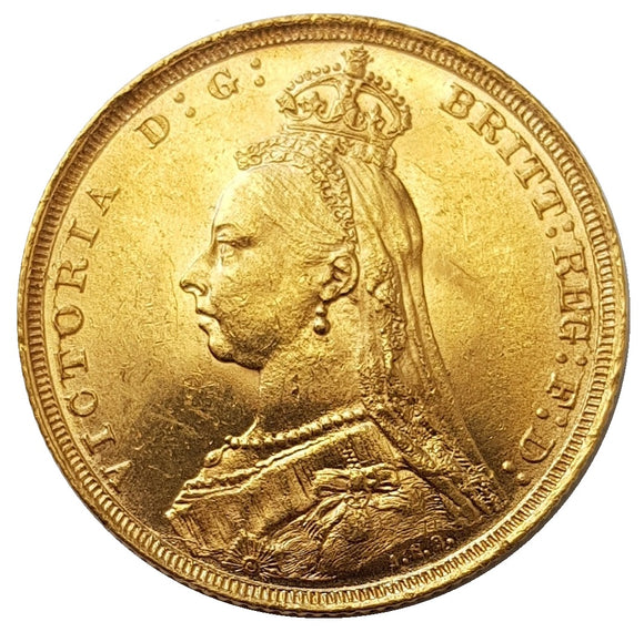 1893-S Queen Victoria Jubilee Head Gold Sovereign (Sydney)
