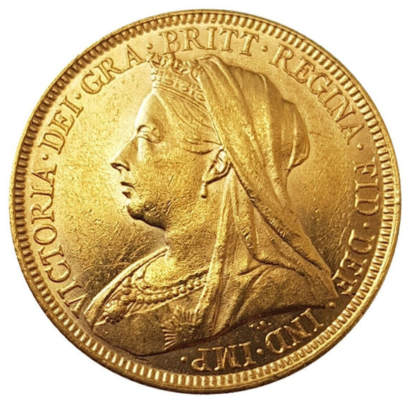 1895-M Queen Victoria Widow Head Gold Sovereign (Melbourne)