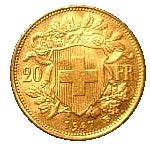 Swiss 20 Franc .900 Fineness 0.187 oz Gold