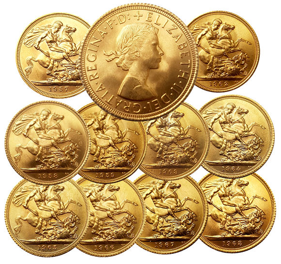 Queen Elizabeth II Pre-Decimal Sovereigns 1957-1968 Complete series (10 Sovereigns)