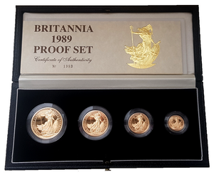 1989 Queen Elizabeth II 4 Coin Gold Britannia Set + COA