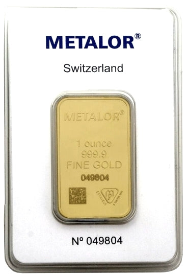 Gold Bullion Bars / METALOR 1 Ounce Ingot