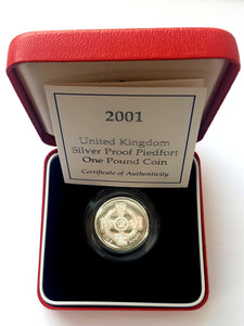 2001 UK Proof Silver Piedfort £1 Coin