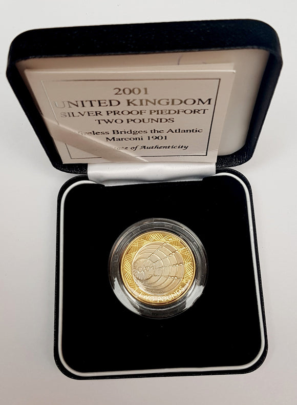 2001 United Kingdom Silver Proof £2 'Marconi' Two Pound Coin