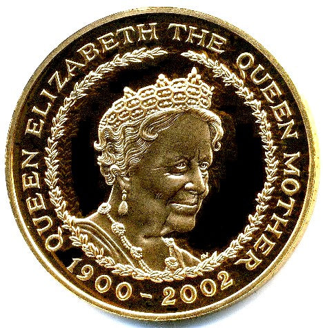 2002 Queen Elizabeth II Queen Mother Memorial Gold Proof  5 Pound + Boxed / COA