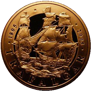 2005 Queen Elizabeth II Battle of Trafalgar Gold Proof 5 Pound + Boxed / COA