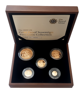 2009 Queen Elizabeth II 5 Coin Gold Sovereign Set + COA