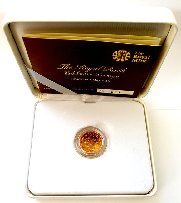 2015 Queen Elizabeth II Strike on the Day 'Charlotte Birth' Gold Sovereign