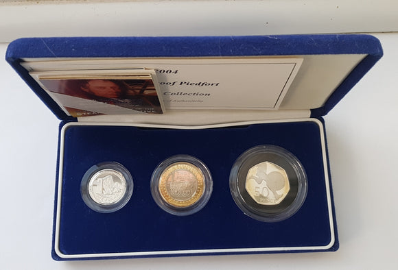 2004 Silver Proof Piedfort 3 Coin Collection Set Box COA