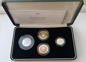 2005 Silver Proof Piedfort 4 Coin Collection Set Box COA