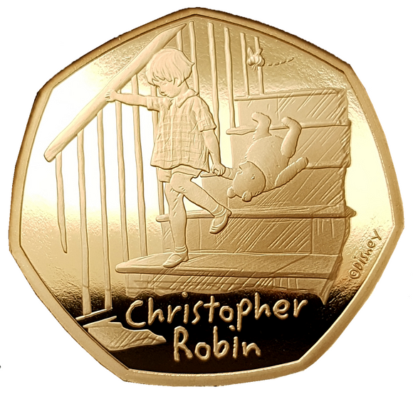 2020 Christopher Robin' Gold Proof 50P - 525 issue Limit.