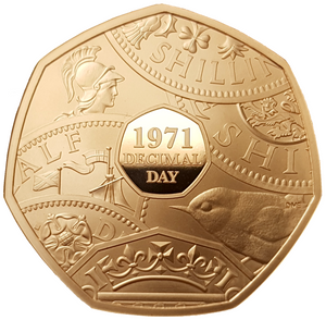 2021 50th Anniv of Decimal Day Gold Proof 50p Coin (450 - Issue Limit)