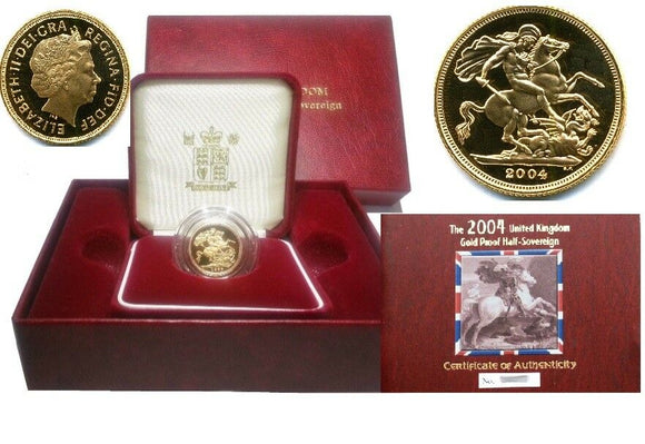 2004 Queen Elizabeth II Proof Gold Half Sovereign + Capsulated within Case / COA
