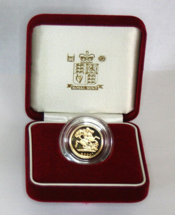 2000 Queen Elizabeth II Proof Gold Half Sovereign + Capsulated with Case / COA