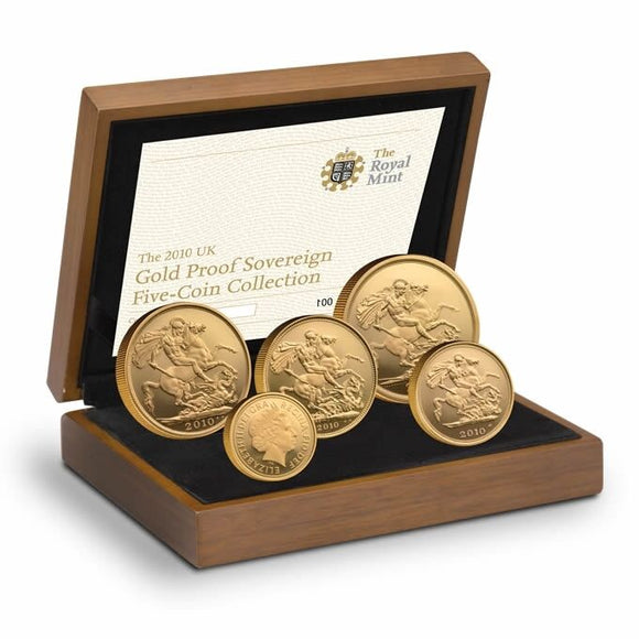 2010 Queen Elizabeth II 5 Coin Gold Sovereign Set + COA