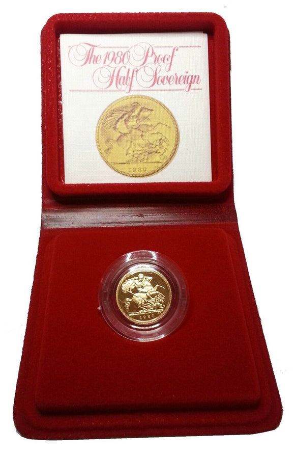 1980 Queen Elizabeth II Proof Gold Half Sovereign + Capsulated / Case