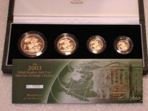 2003 Queen Elizabeth II 4 Coin Gold Sovereign Set + COA