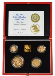 1997 Queen Elizabeth II 4 Coin Gold Sovereign Set + COA