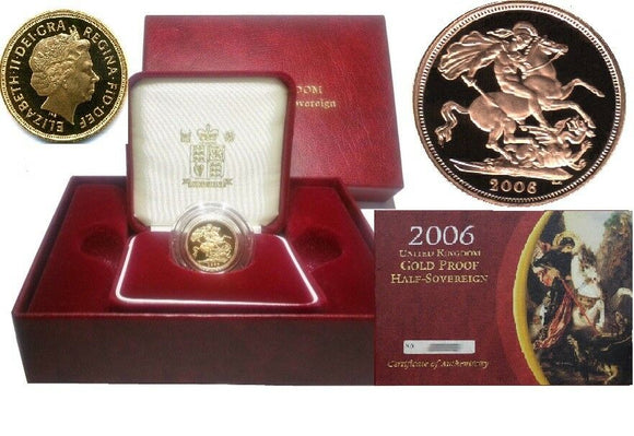 2006 Queen Elizabeth II Proof Gold Half Sovereign + Capsulated within Case / COA