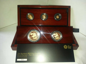 2015 Queen Elizabeth II 5 Coin 5th Head JODY CLARK Gold Proof Sovereign Set +COA